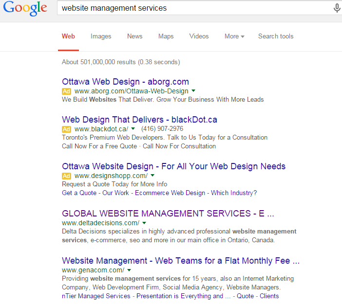 Organic SEO results from Delta Decisions